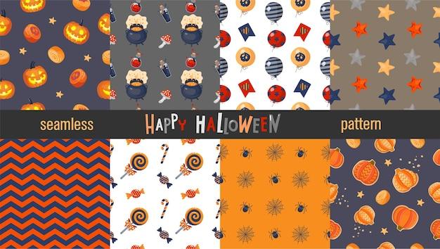 Set van naadloze halloween-patronen: pompoen, snoep, toverdrank, spin, ballonnen.