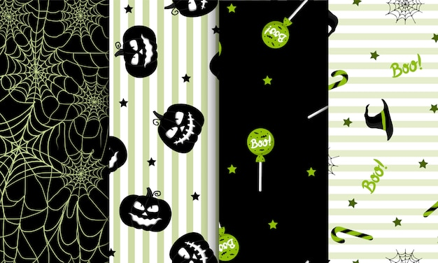 Set van naadloze halloween-patroon. voor inpakpapier, uitnodigingen, webdesign.