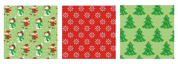 Set van naadloze kerst patronen met elfjes, sneeuwpop, sneeuwvlokken en bomen.