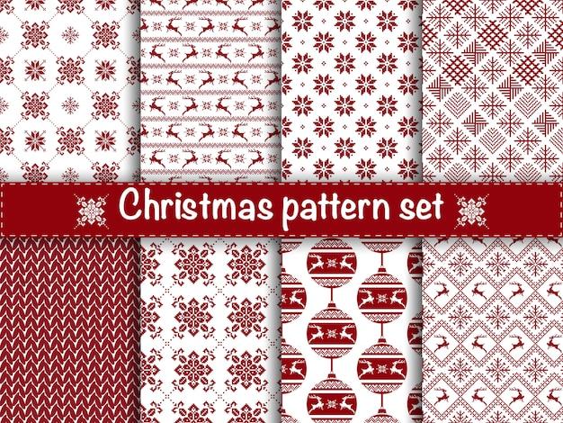 Set van naadloze kerst patronen.