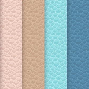 Set van naadloze lederen texturen. zachte kleurenpalet. rozeachtig beige, bruin, turkoois en gedempte blauwe tinten. puur kunstleer oppervlak met een realistisch herhalend patroon.