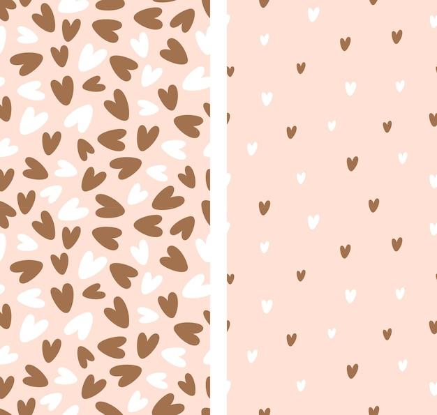 Set van naadloze patronen. harten op een neutrale achtergrond. vector illustratie