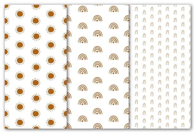 Set van naadloze patronen in moderne abstracte stijl. vectorillustratie