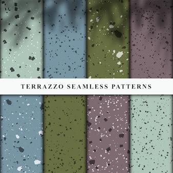 Set van naadloze patronen in terrazzo-stijl.