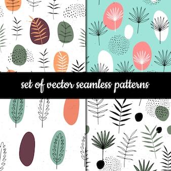 Set van naadloze patronen. kruiden en planten