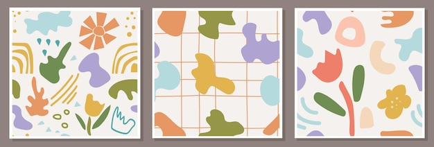 Set van naadloze patronen met abstracte composities