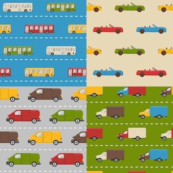 Set van naadloze patronen met auto's