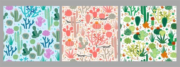Set van naadloze patronen met cactussen.
