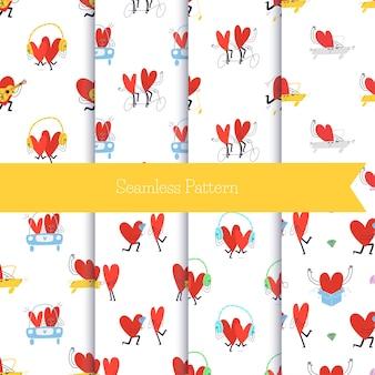 Set van naadloze patronen met cartoon harten. verzameling van schattige naadloze patronen met verliefde stelletjes.