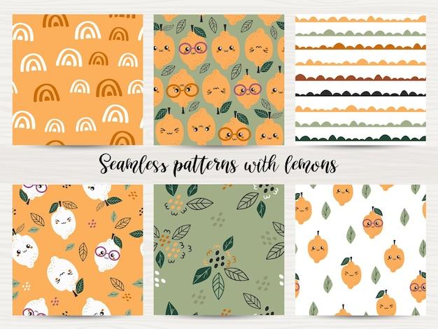 Set van naadloze patronen met citroenen. vectorillustratie voor inpakpapier en scrapbooking