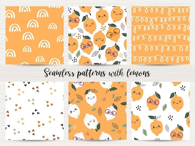 Set van naadloze patronen met citroenen.