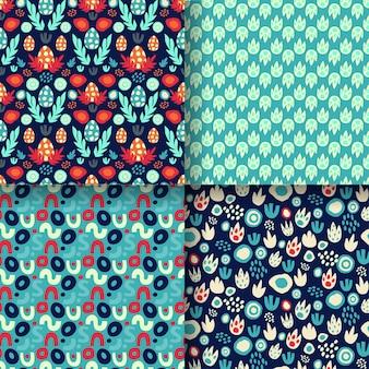 Set van naadloze patronen met dinosauruseieren, voetafdrukken, abstracte texturen met blauwe en rode neon. voor dino prints van kindertextiel, papier voor dino scrapbooking, verpakkingen. vector illustratie.