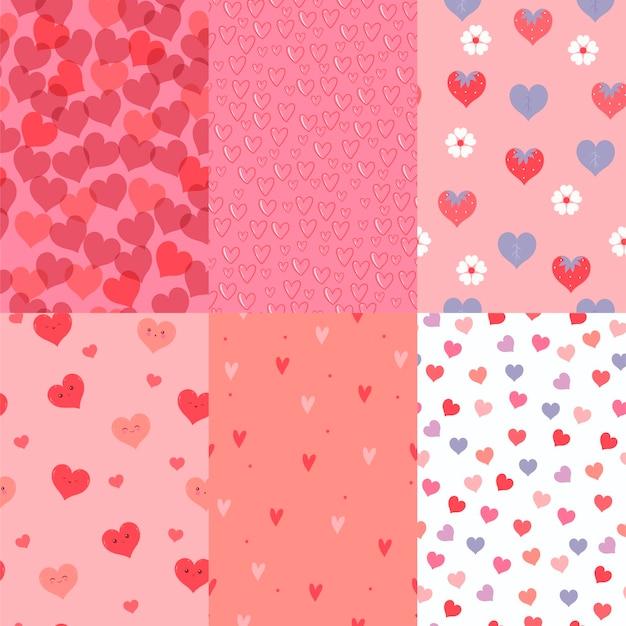 Set van naadloze patronen met hartjes