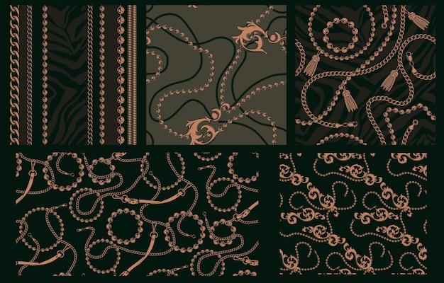 Set van naadloze patronen met kettingen. elk patroon is in een aparte groep. ideaal voor het bedrukken van textielfabrieken.
