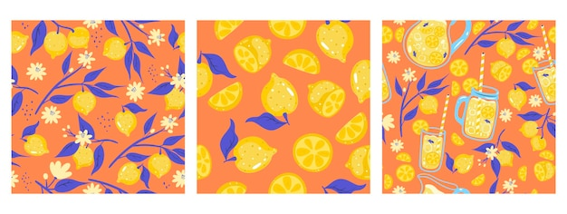 Set van naadloze patronen met limonade en citroenen