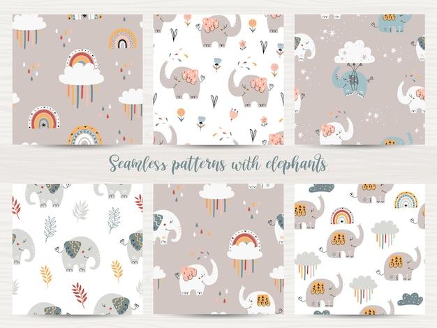 Set van naadloze patronen met olifanten