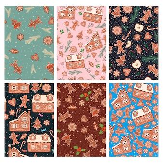 Set van naadloze patronen met peperkoekkoekjes.