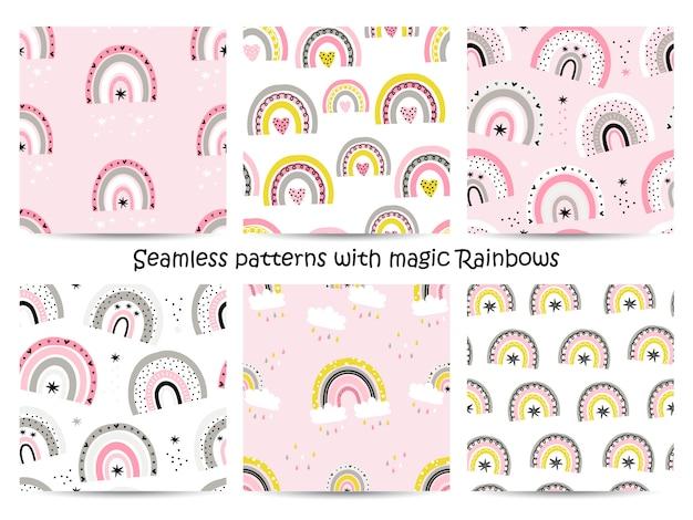 Set van naadloze patronen met regenbogen.