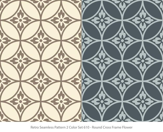 Set van naadloze patronen met ronde frame bloem