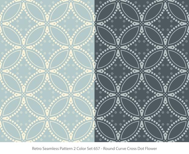 Set van naadloze patronen met round curve dot flower