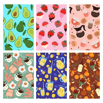 Set van naadloze patronen met schattig kawaii eten
