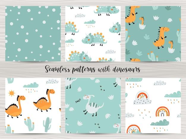 Set van naadloze patronen met schattige dinosaurussen