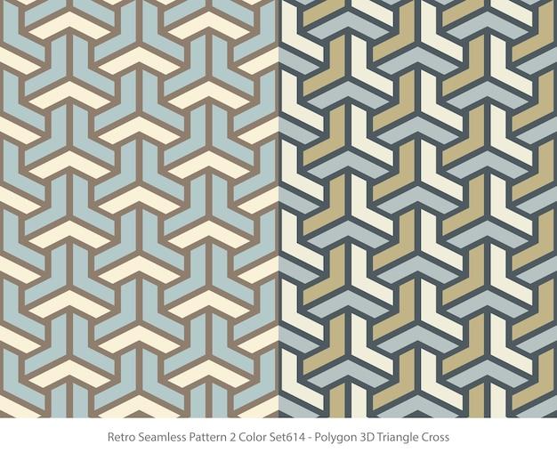 Set van naadloze patronen met veelhoek 3d-driehoekskruis