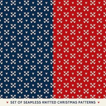 Set van naadloze patronen op de wol gebreide textuur
