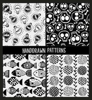Set van naadloze patronen op verschillende lieren.