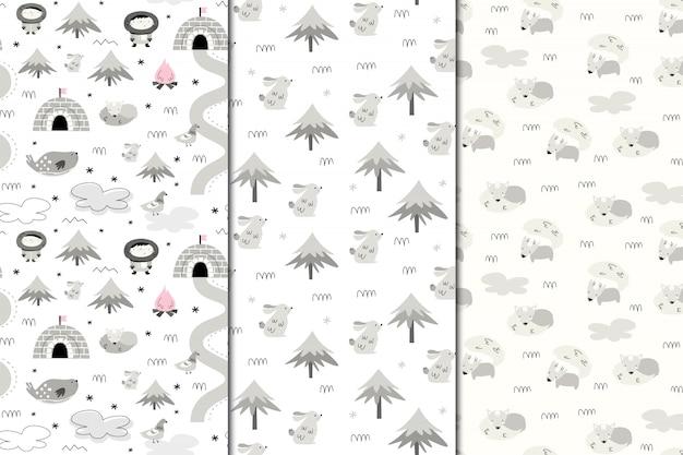 Set van naadloze patronen van alaska. natuur en dieren, eskimo's. scandi-stijl