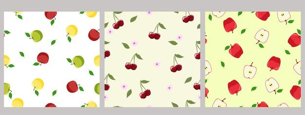 Set van naadloze patronen van fruit.