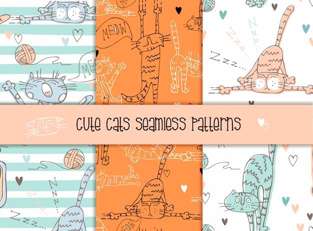 Set van naadloze patronen van katten in een leuke stijl.