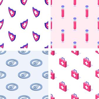 Set van naadloze patronen van medische elementen