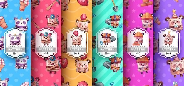 Set van naadloze patronen van schattige beren