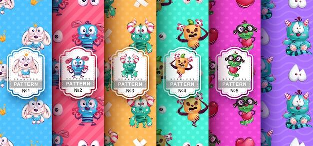Set van naadloze patronen van schattige monster