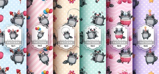 Set van naadloze patronen van schattige wasberen
