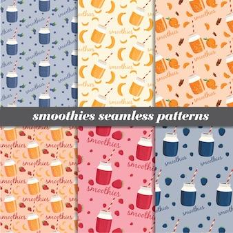 Set van naadloze patronen van smoothies.