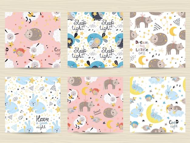 Set van naadloze patronen voor baby's