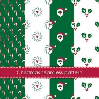 Set van naadloze patronen voor kerstmis