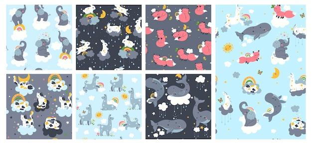 Set van naadloze patronen voor kinderdagverblijf met schattige dieren.