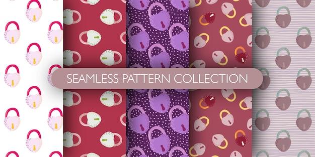 Set van naadloze patroon met doodle hand getrokken lock silhouetten.
