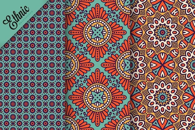 Set van naadloze patroon met geometrische elementen