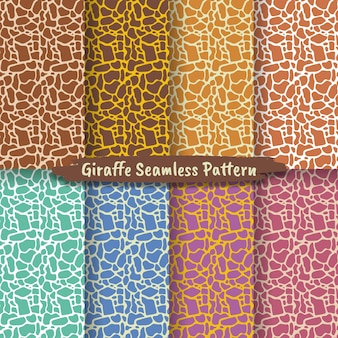 Set van naadloze patroon met giraffe huidtextuur, collectie naadloze patronen dieren