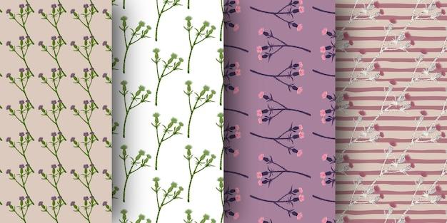 Set van naadloze patroon met klit takken ornament.