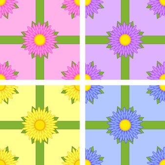 Set van naadloze patroon van bloemvariëteiten aster roze, geel, blauw, paars met groene linten op kleur achtergrond