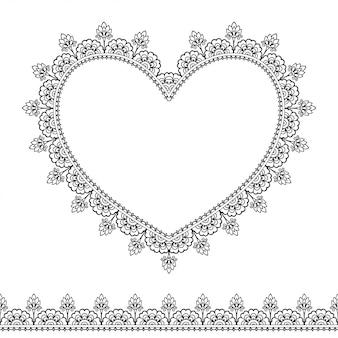 Set van naadloze randen en hart voor ontwerp, toepassing van henna, mehndi en tattoo. decoratief patroon in etnische oosterse stijl.