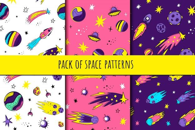 Set van naadloze ruimtepatronen