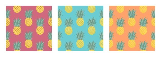 Set van naadloze vector tropische patroon met ananas