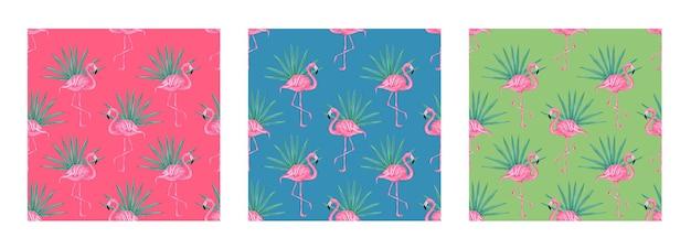 Set van naadloze vector tropische patroon met roze flamingo's