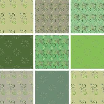 Set van naadloze vintage patronen met romantische krullen. ideaal voor bedrukking, textiel